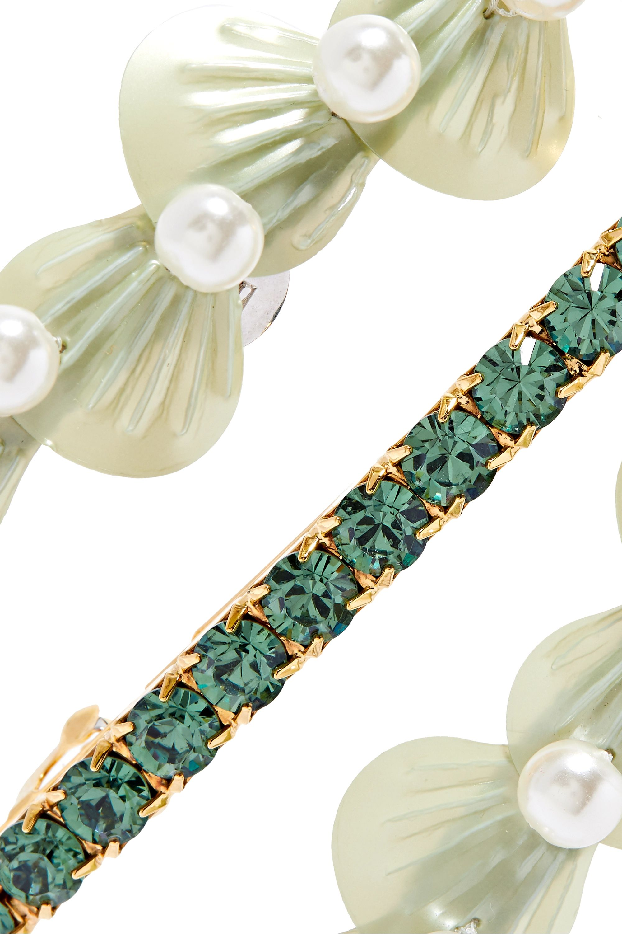 LELET NY Seafoam set of three gold and silver-tone faux pearl, crystal and resin hair clips
