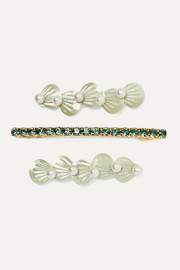 Seafoam set of three gold and silver-tone faux pearl, crystal and resin hair clips
