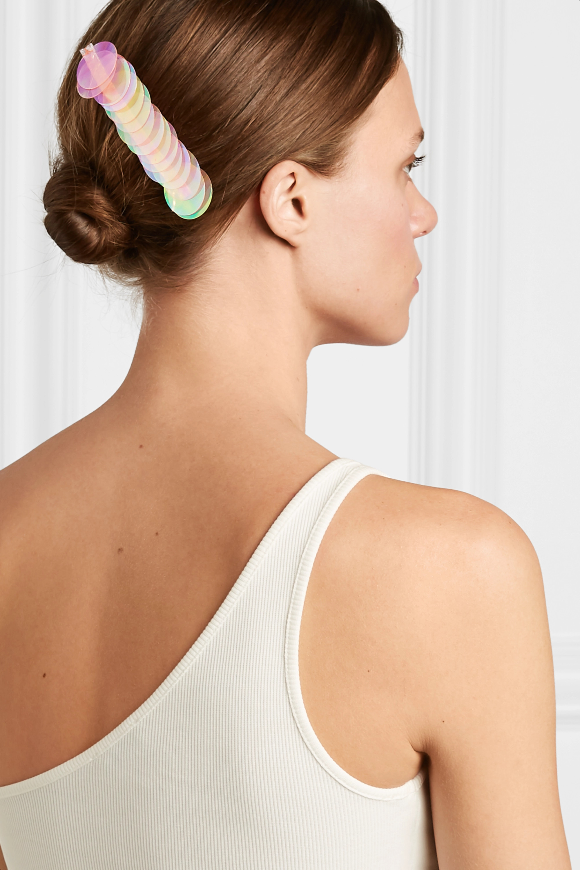 LELET NY Paillette-embellished silver-tone hair clip