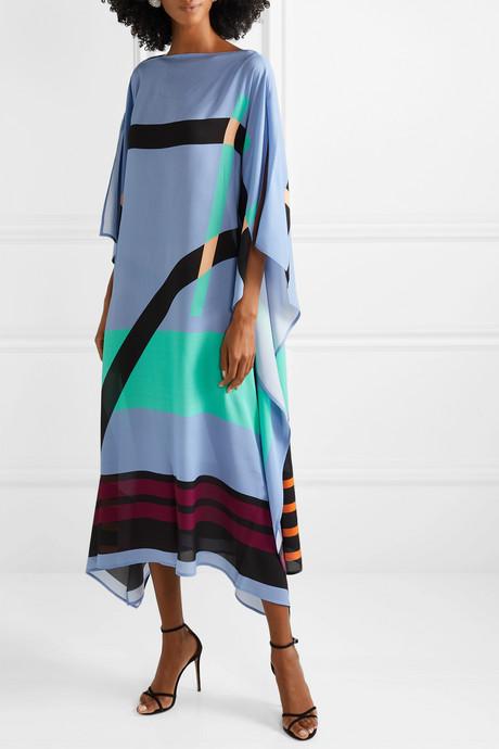Pompe printed silk-georgette dress
