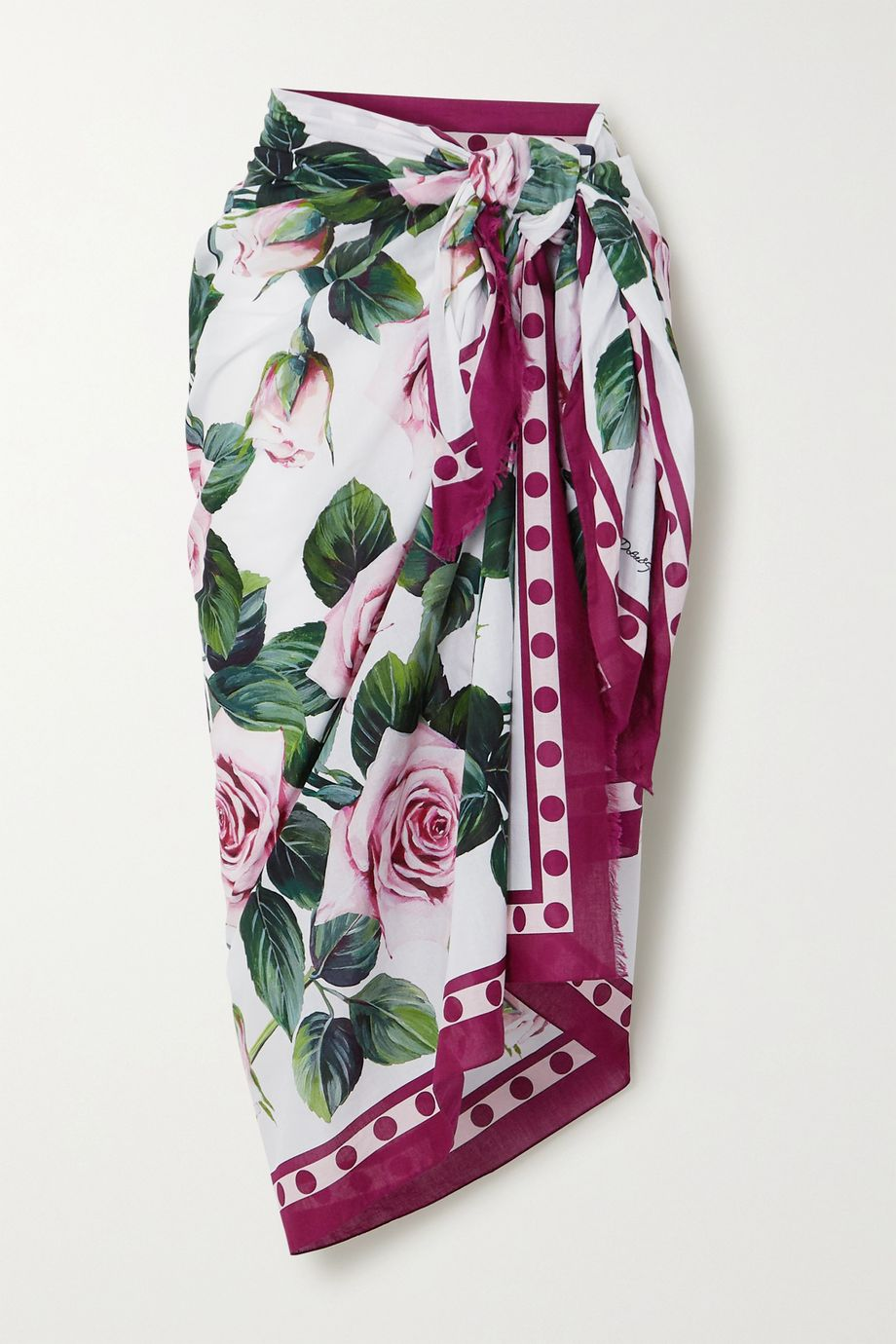 Dolce & Gabbana Fringed floral-print cotton-voile pareo
