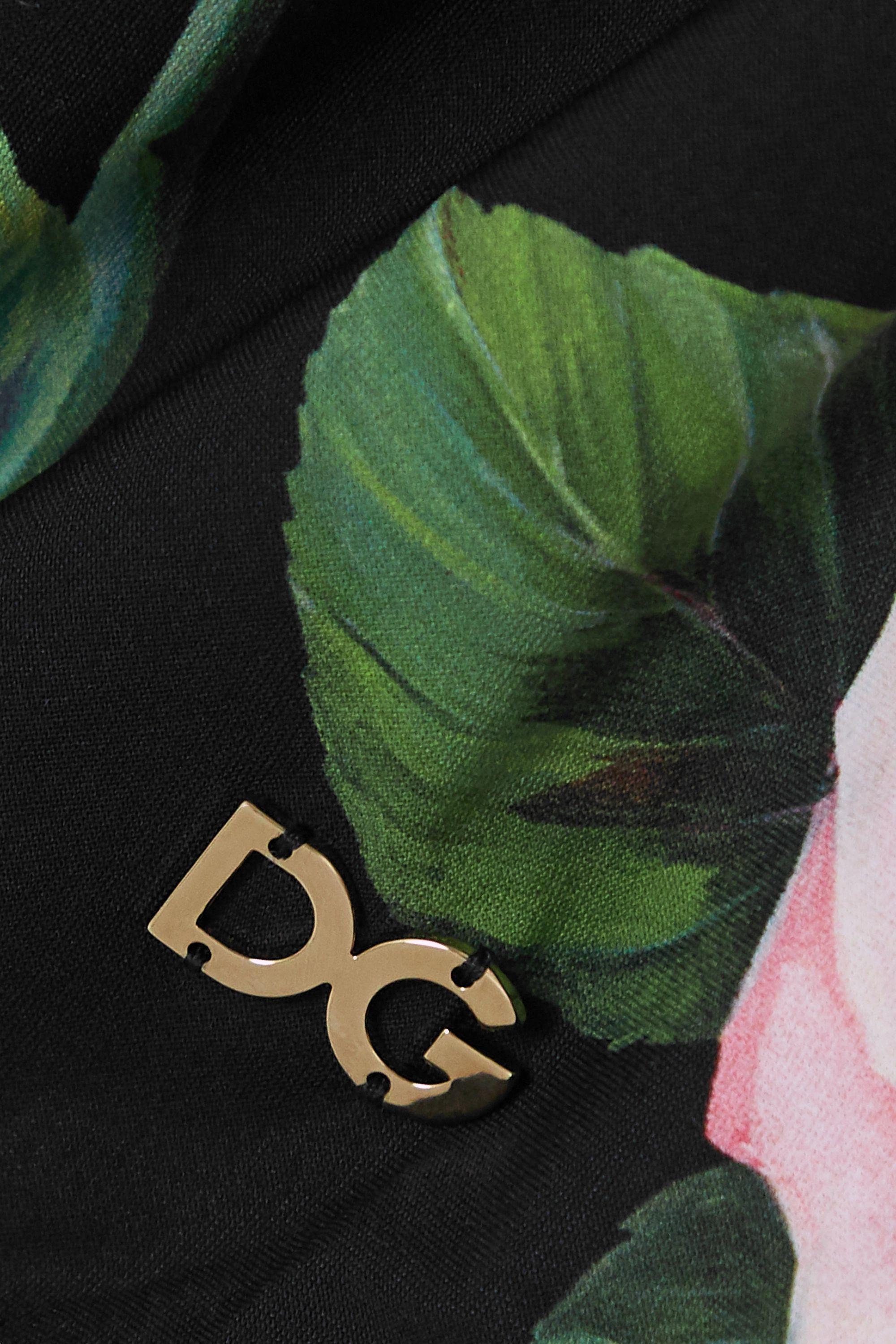 Dolce & Gabbana Floral-print one-shoulder swimsuit