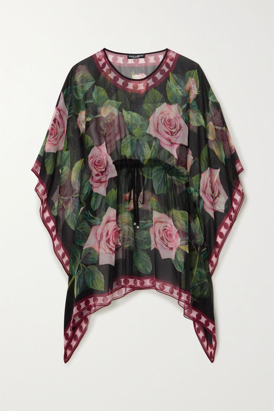 Dolce & Gabbana Floral-print silk-chiffon kaftan