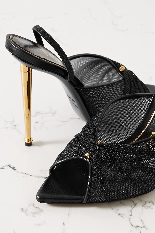TOM FORD Leather-trimmed mesh slingback sandals