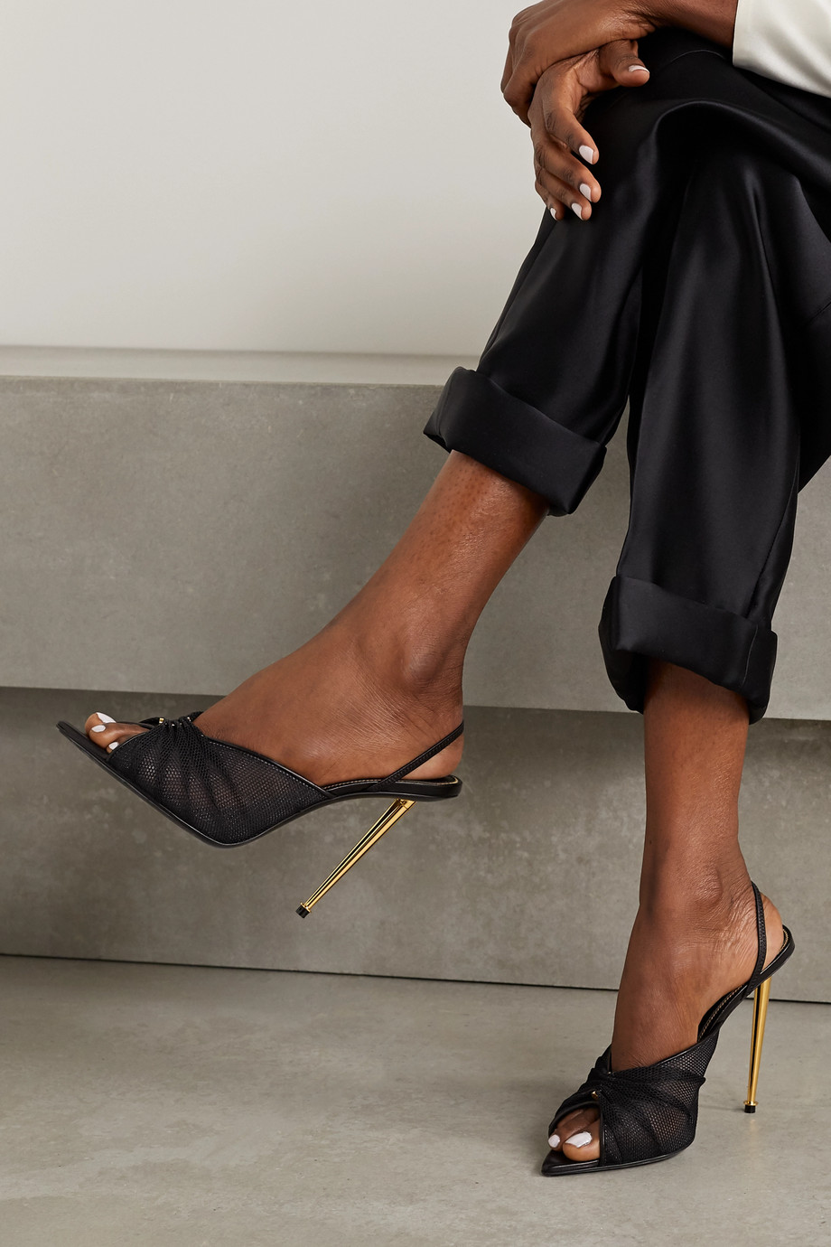 TOM FORD Leather-trimmed mesh slingback sandals