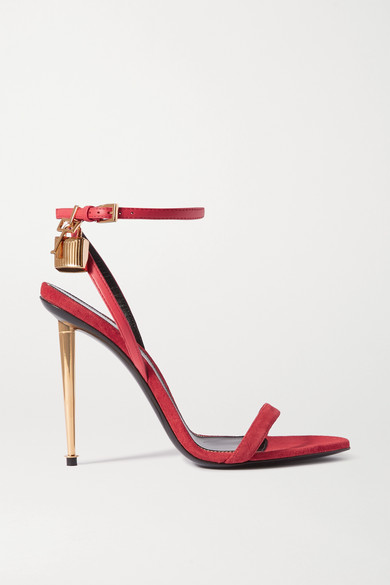 Tom Ford Padlock Embellished Leather Sandals In Bright Pink