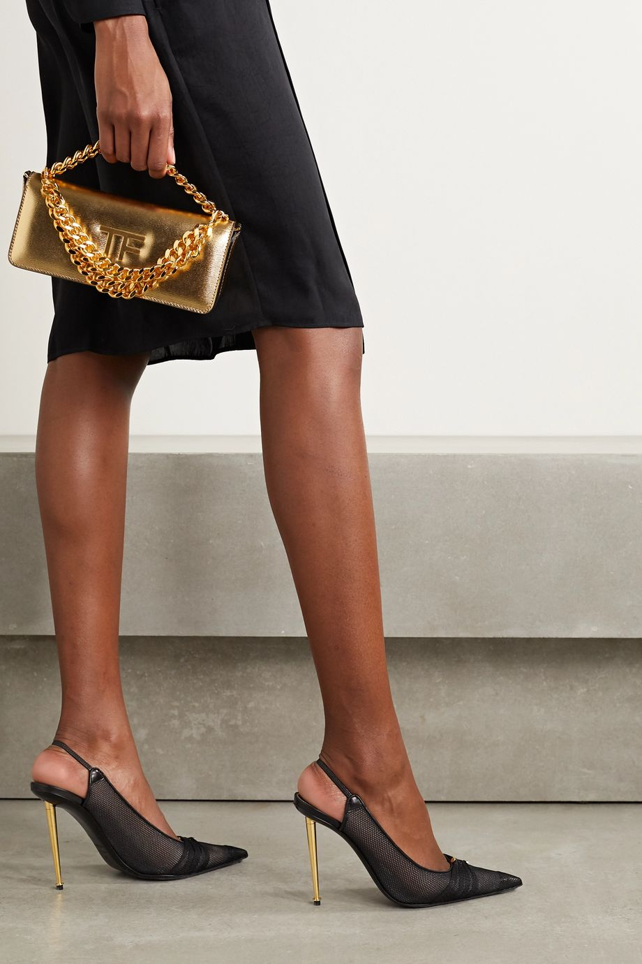 TOM FORD Leather-trimmed mesh slingback pumps
