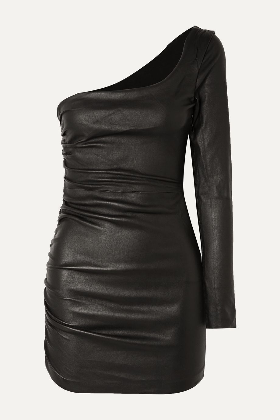 SPRWMN One-sleeve ruched leather mini dress