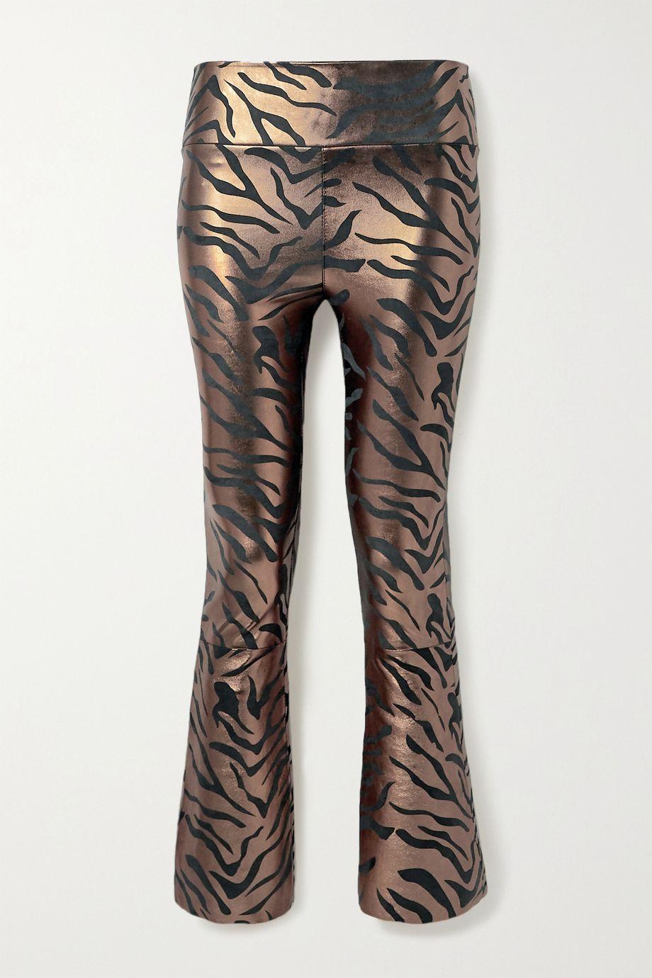 SPRWMN Cropped metallic zebra-print leather flared pants