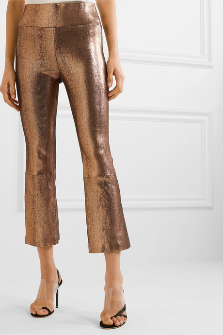 Cropped metallic leather flared pants