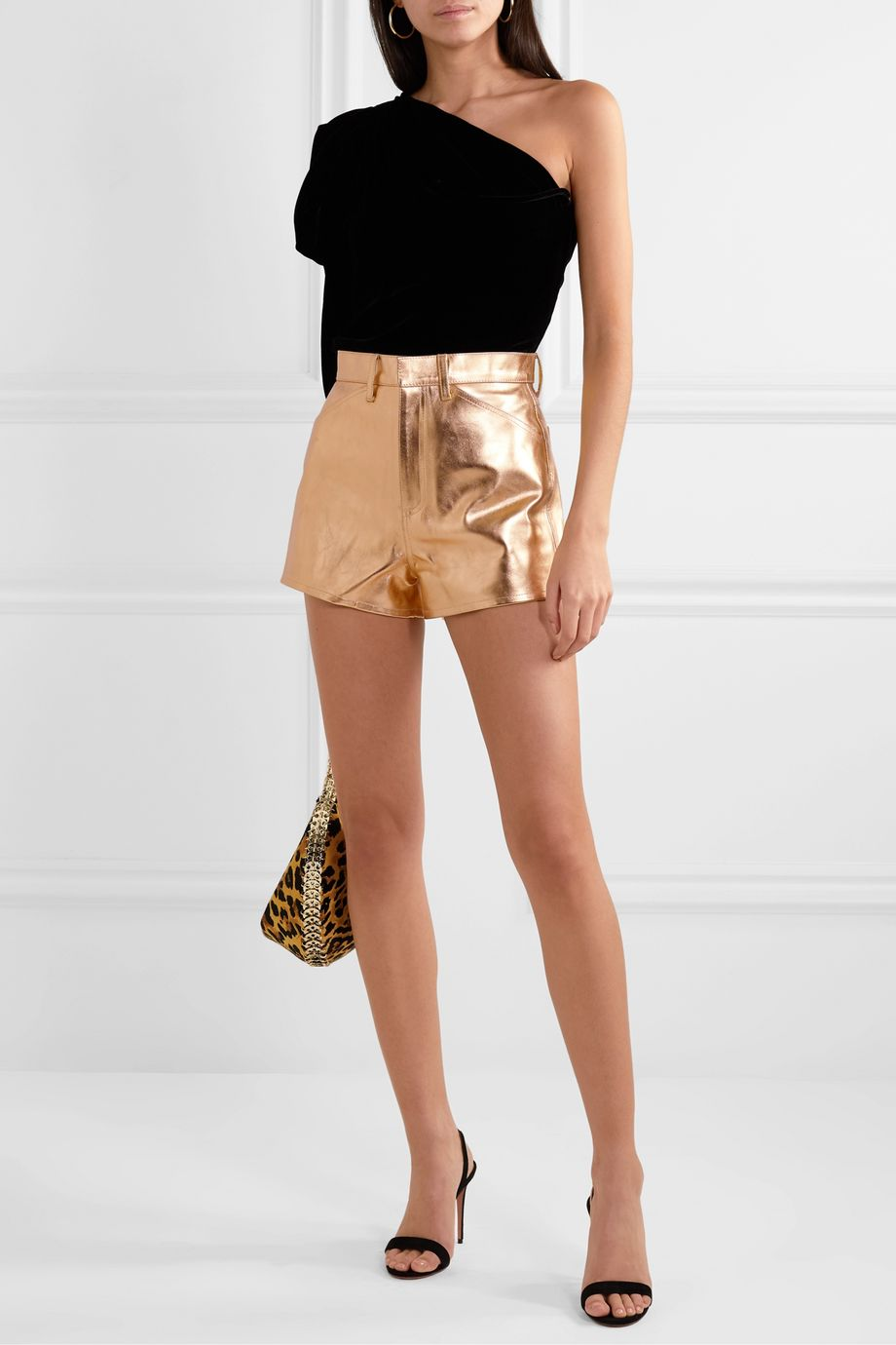 SPRWMN Metallic leather shorts