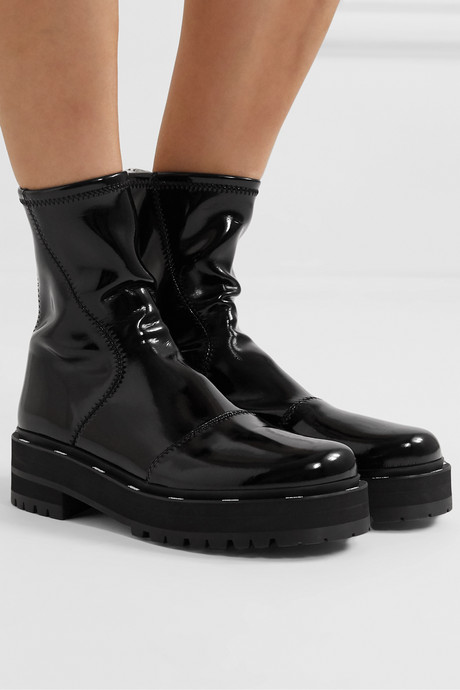 Two-tone glossed-neoprene platform ankle boots