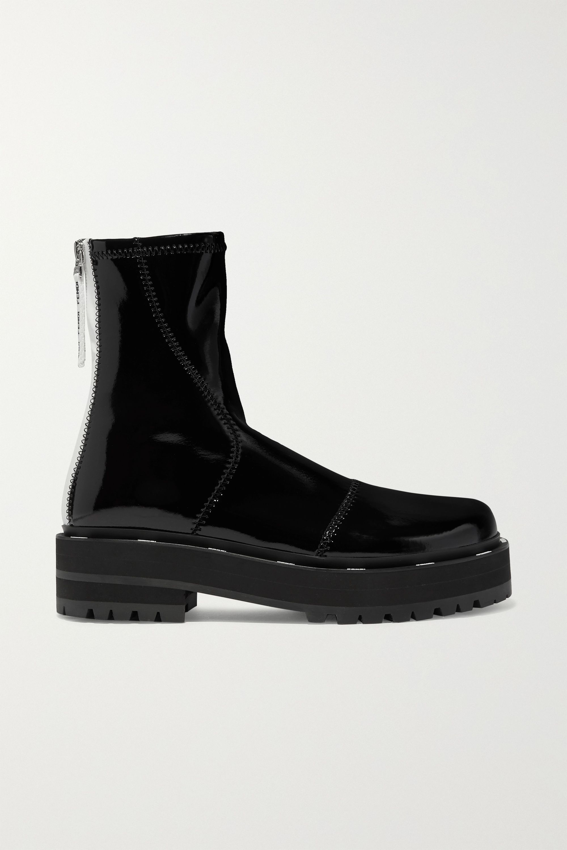 Fendi Two-tone glossed-neoprene platform ankle boots