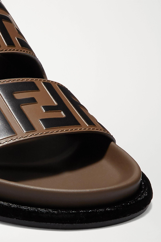 Fendi Logo-print leather and rubber slides