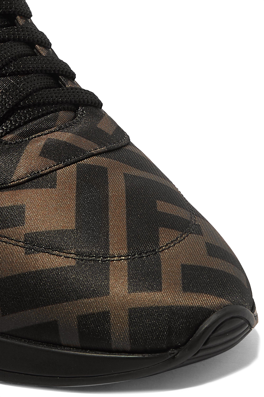 Fendi Leather-trimmed logo-print neoprene high-top sneakers