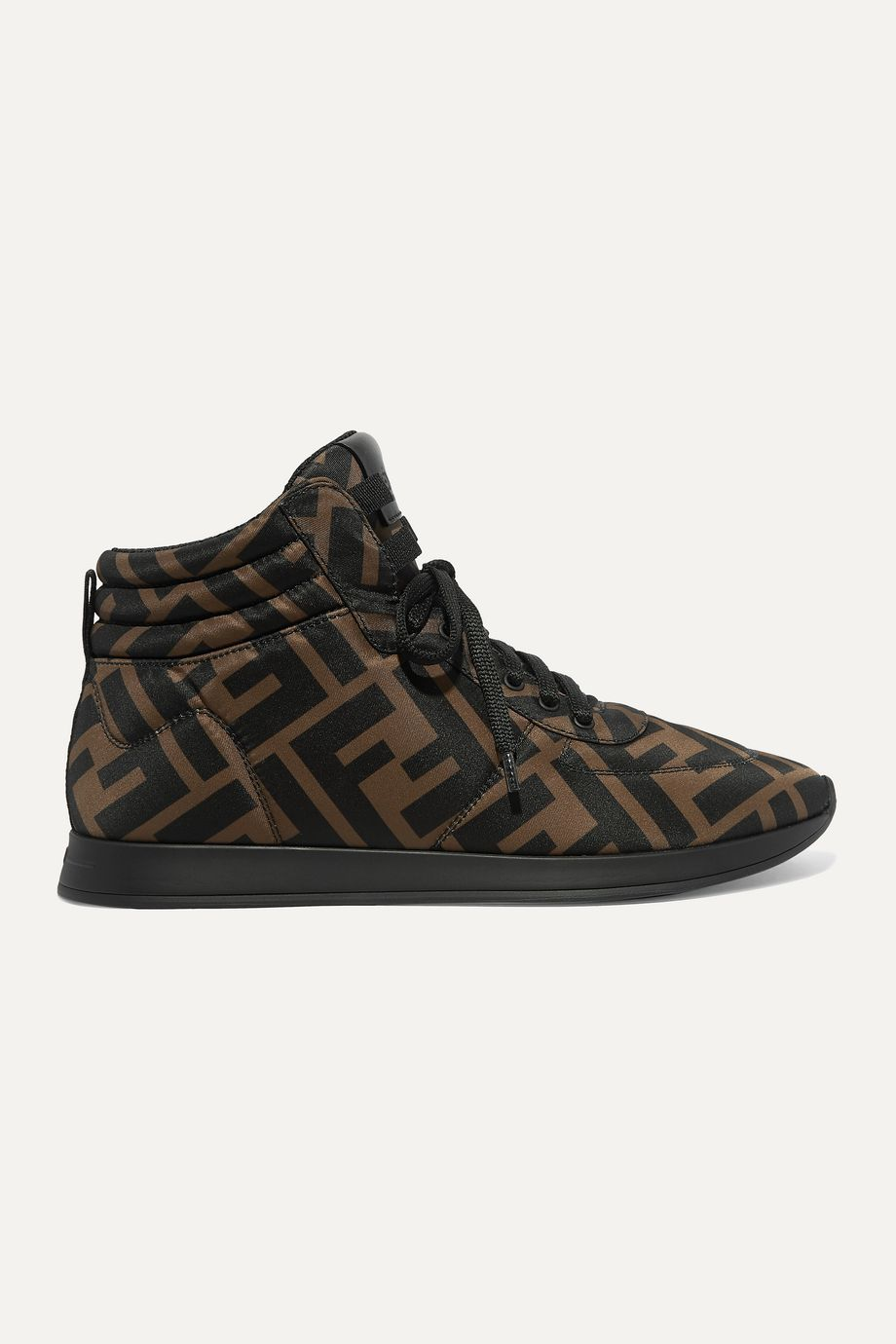 Fendi Leather-trimmed logo-print neoprene high-top sneakers