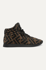 Fendi Leather-trimmed logo-print neoprene sneakers