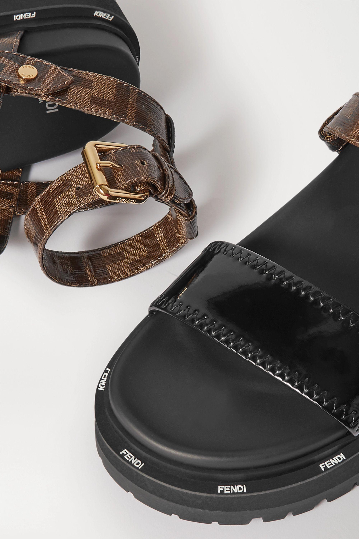 Fendi Logo-print coated-canvas and patent-leather platform sandals
