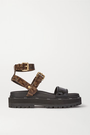 Fendi Logo-print coated-canvas and patent-leather platform sandals