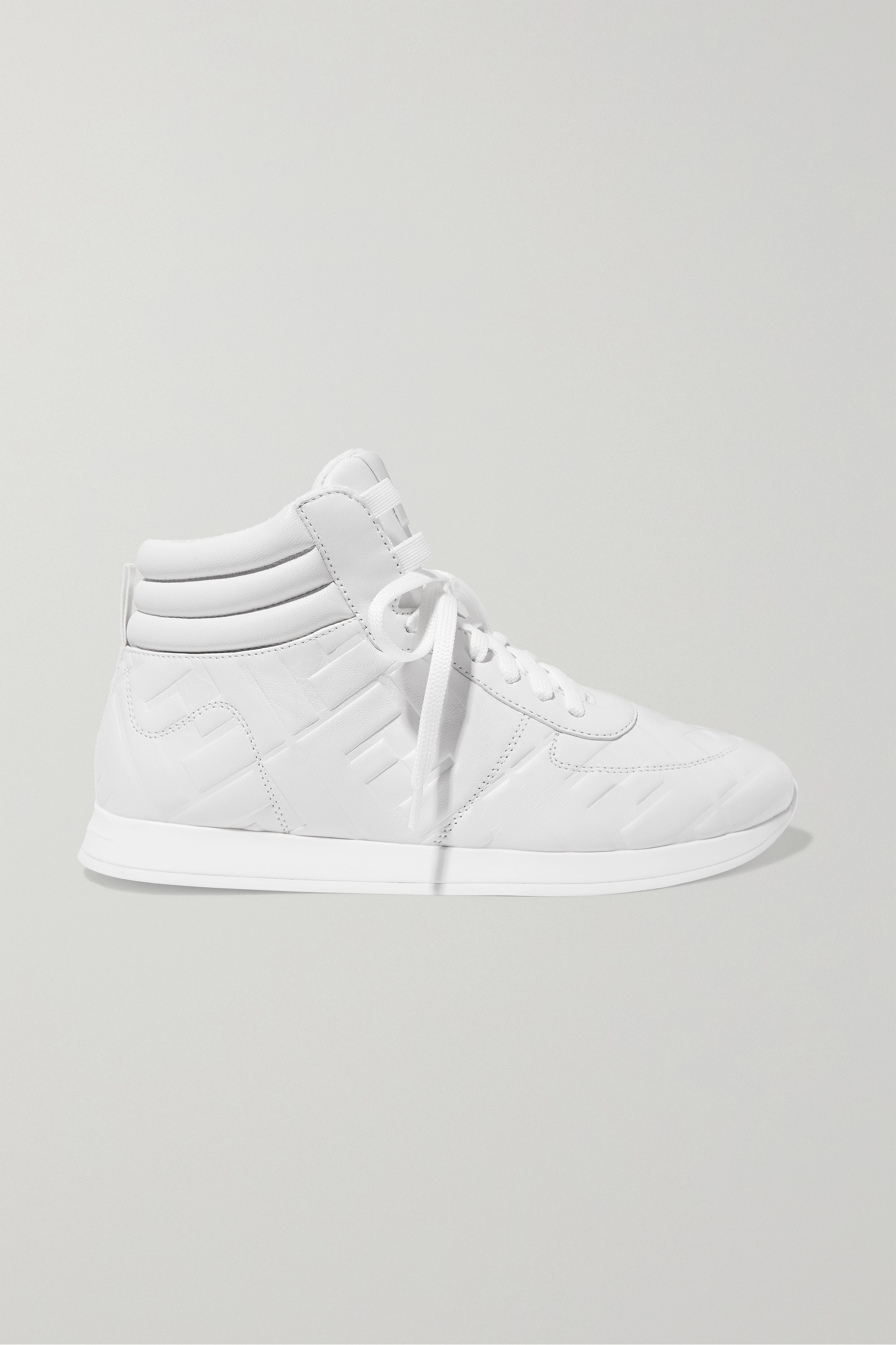 White Logo-embossed leather high-top