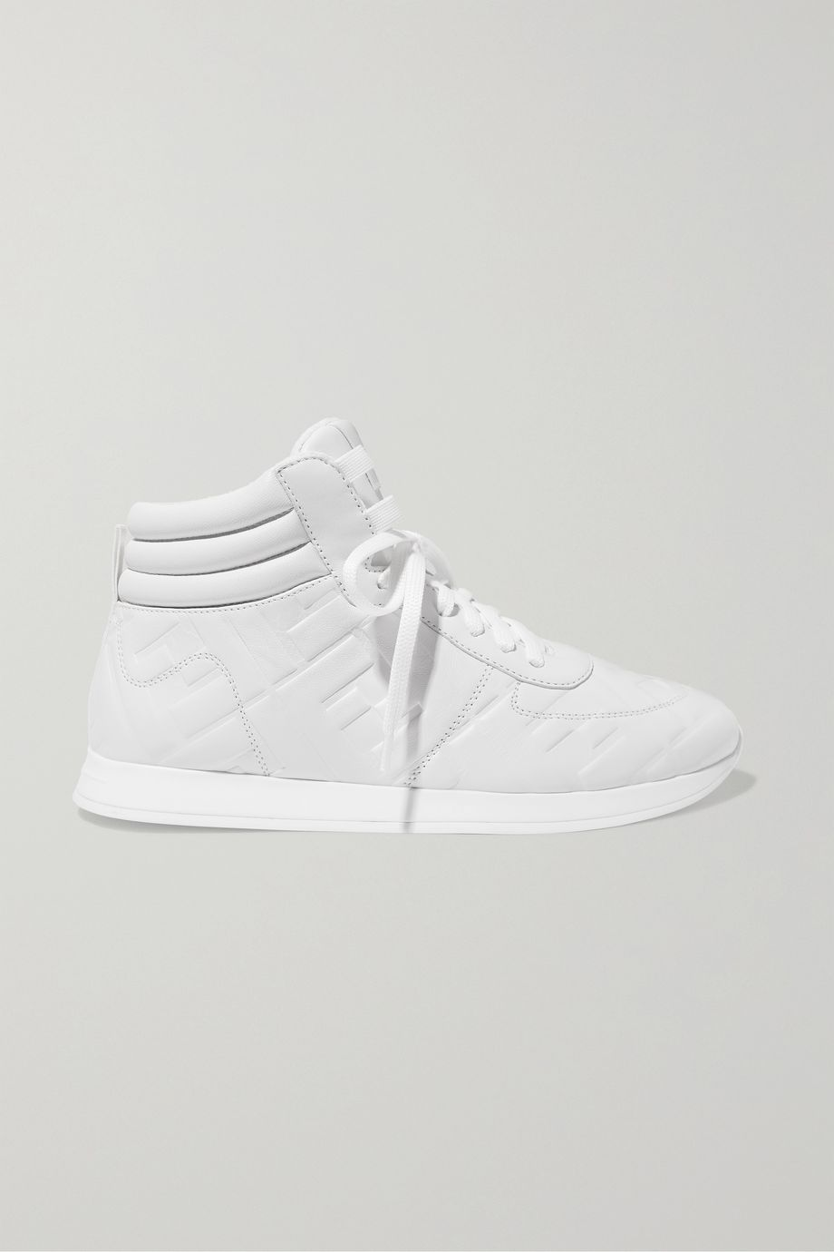 Fendi Logo-embossed leather high-top sneakers