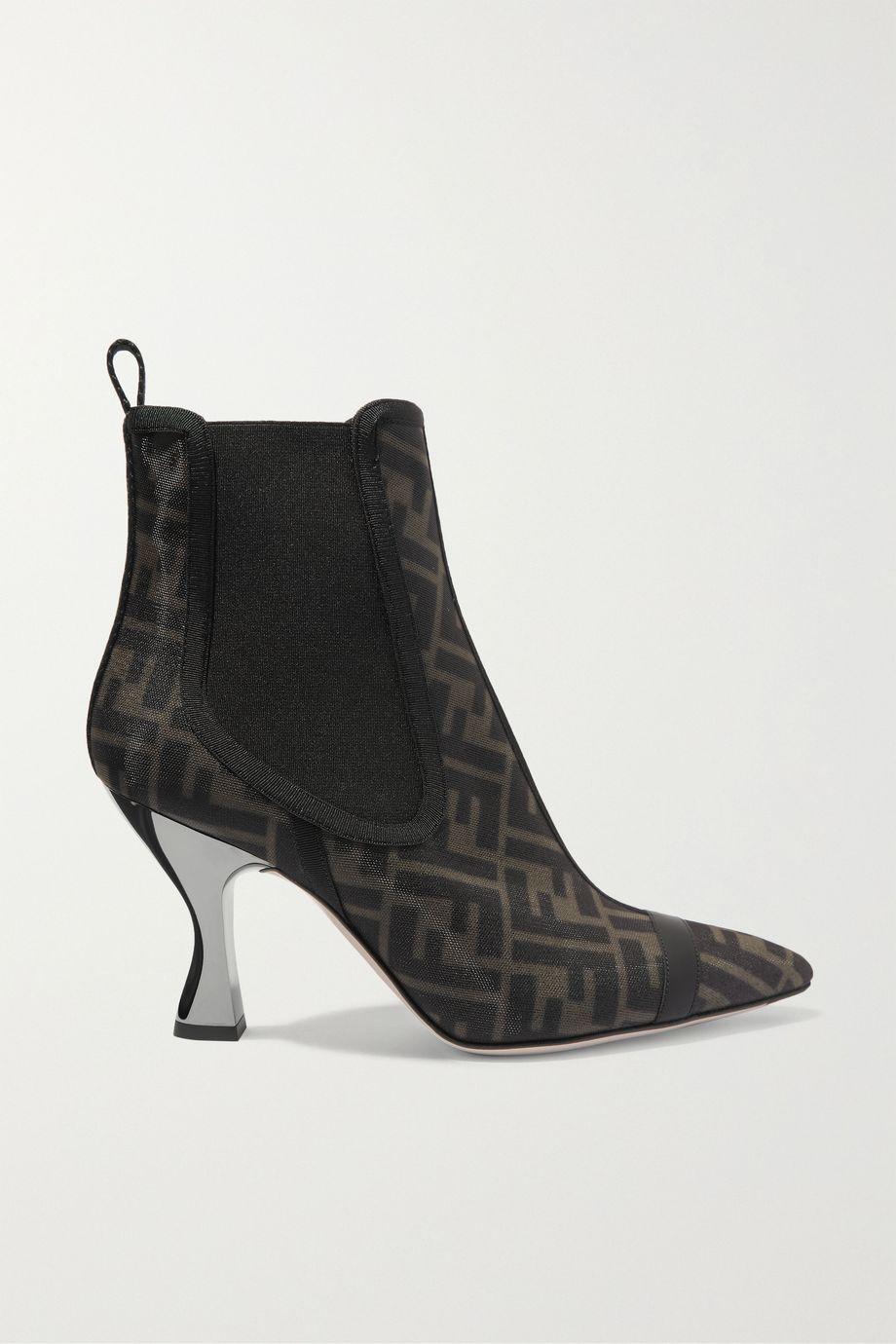 Fendi Leather-trimmed logo-print mesh sock boots