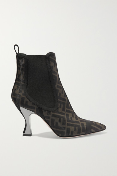 Leather Trimmed Logo Print Mesh Sock Boots by Fendi