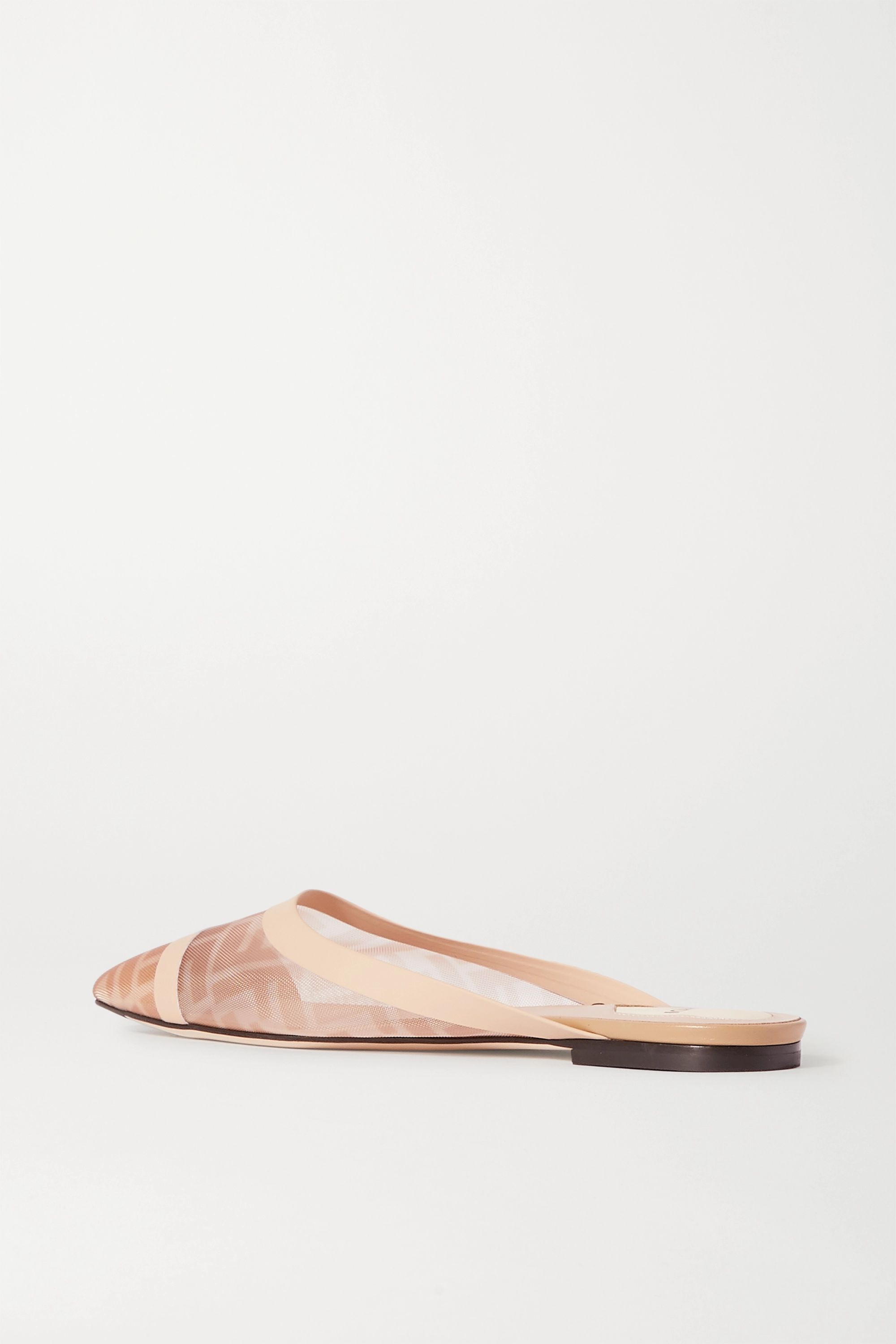 Fendi Colibrì leather-trimmed logo-print mesh slippers