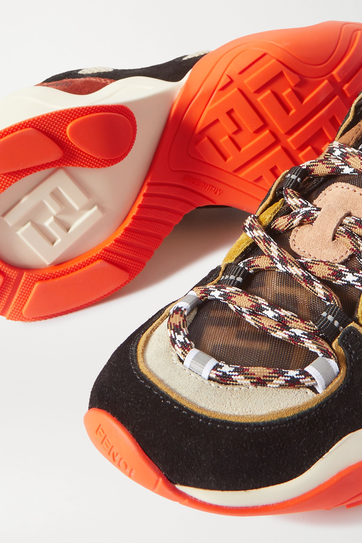 Fendi FFluid 品牌标志印花绒面革网眼帆布运动鞋