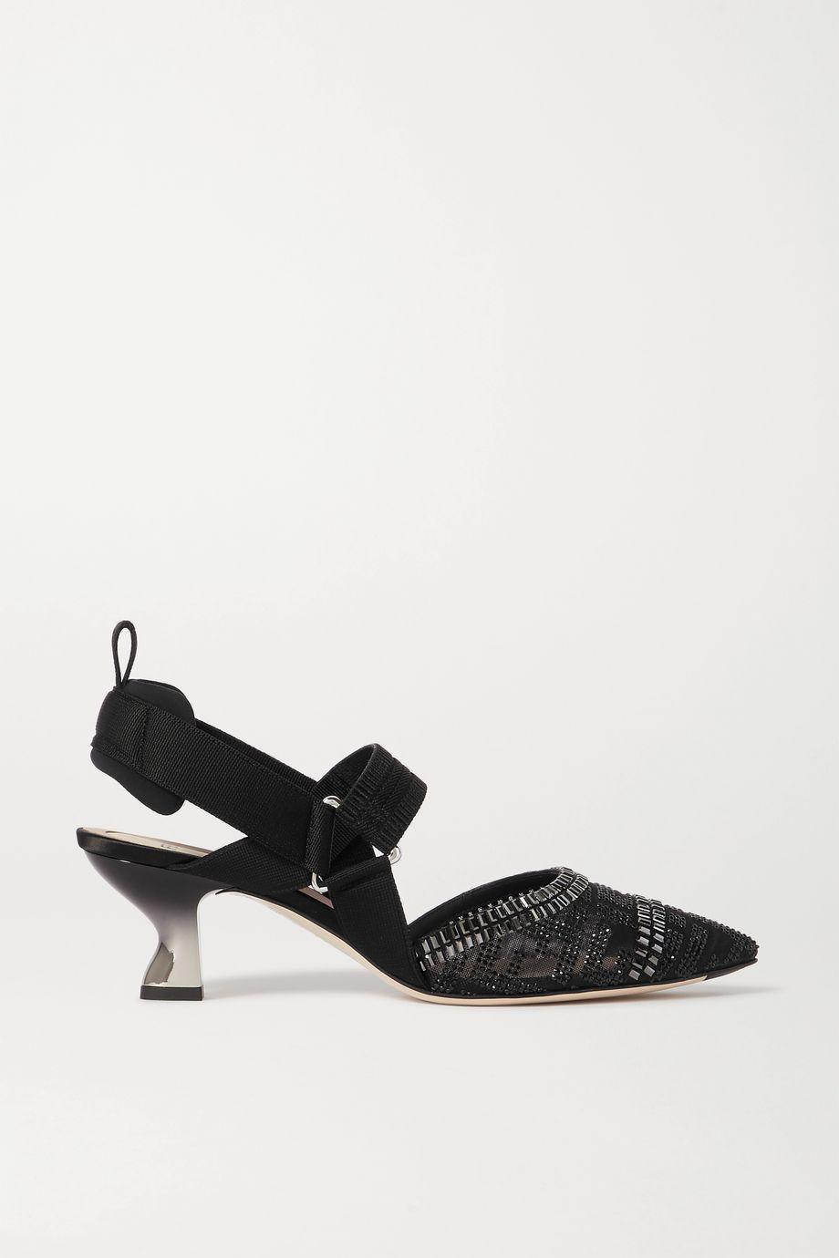 Fendi Colibrì embellished mesh, rubber and stretch-canvas slingback pumps