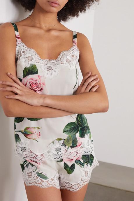 Lace-trimmed floral-print stretch silk-blend camisole