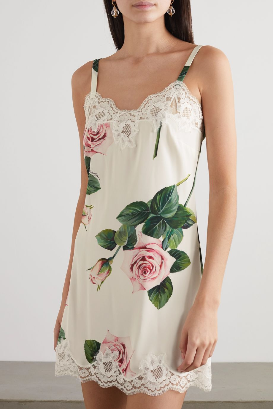 Dolce & Gabbana Lace-trimmed floral-print silk-blend chemise