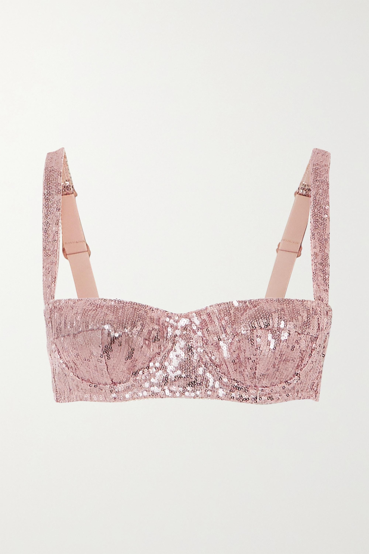 Dolce & Gabbana Sequinned tulle underwired balconette bra