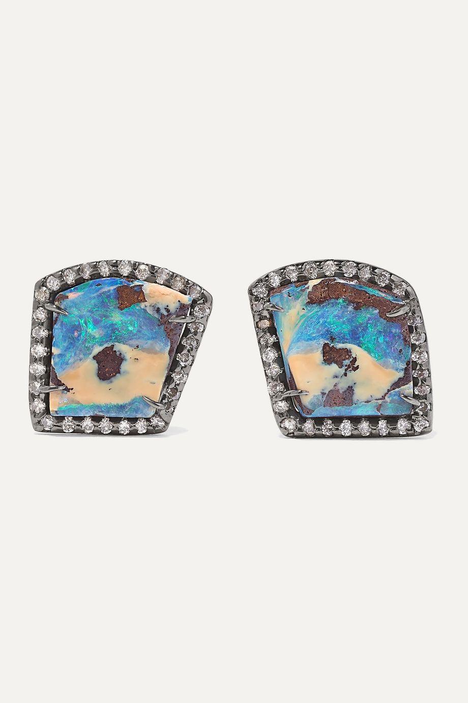 Kimberly McDonald 18-karat blackened white gold, opal and diamond earrings