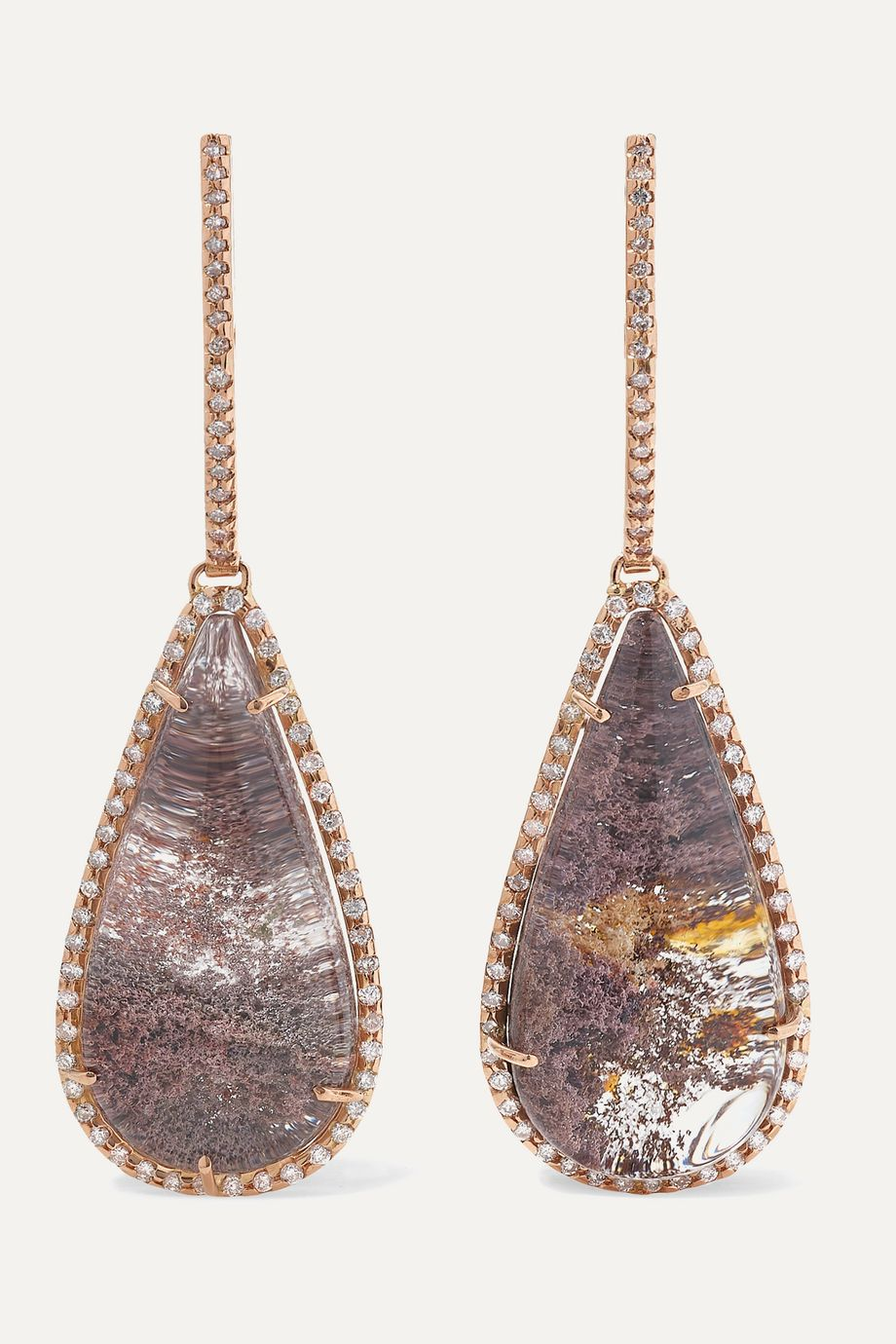 Kimberly McDonald 18-karat rose gold, quartz and diamond earrings