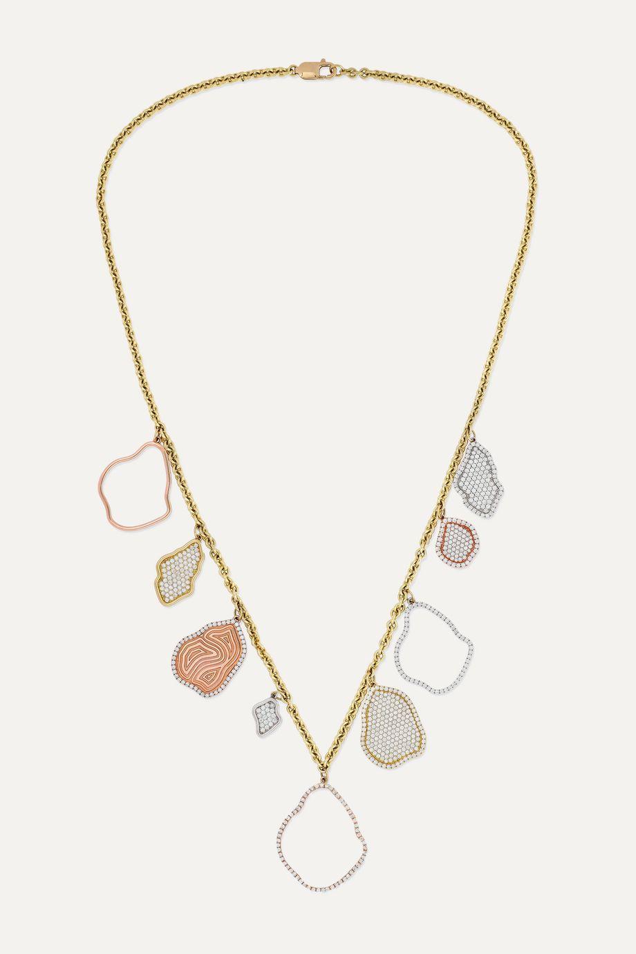 Kimberly McDonald 18-karat white, rose, yellow and green gold diamond necklace