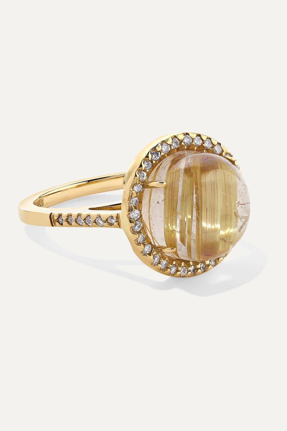 Kimberly McDonald 18-karat gold, quartz and diamond ring