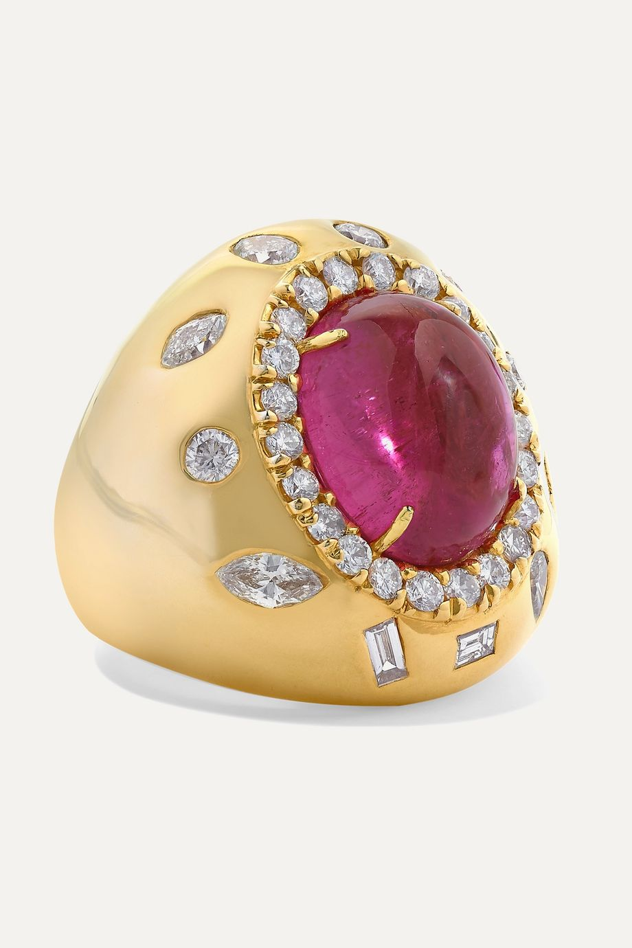 Kimberly McDonald 18-karat green gold, rubellite and diamond ring