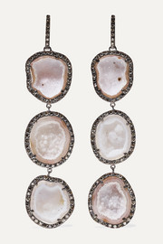 Kimberly McDonald 18-karat blackened white gold, geode and diamond earrings