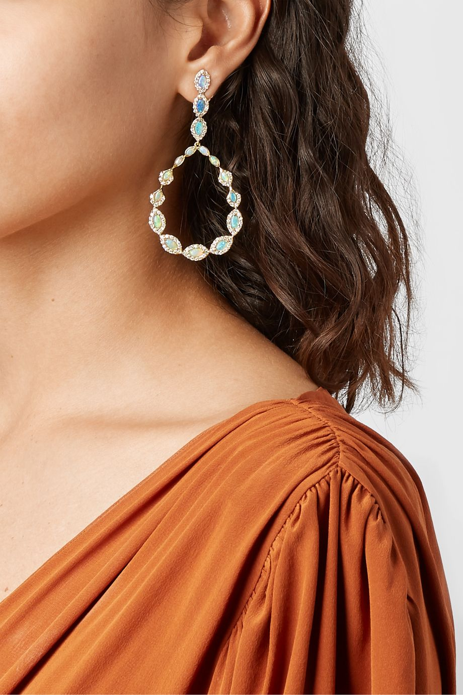Kimberly McDonald 18-karat gold, opal and diamond earrings