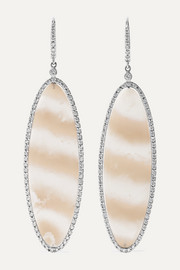 Kimberly McDonald 18-karat white gold, chalcedony and diamond earrings