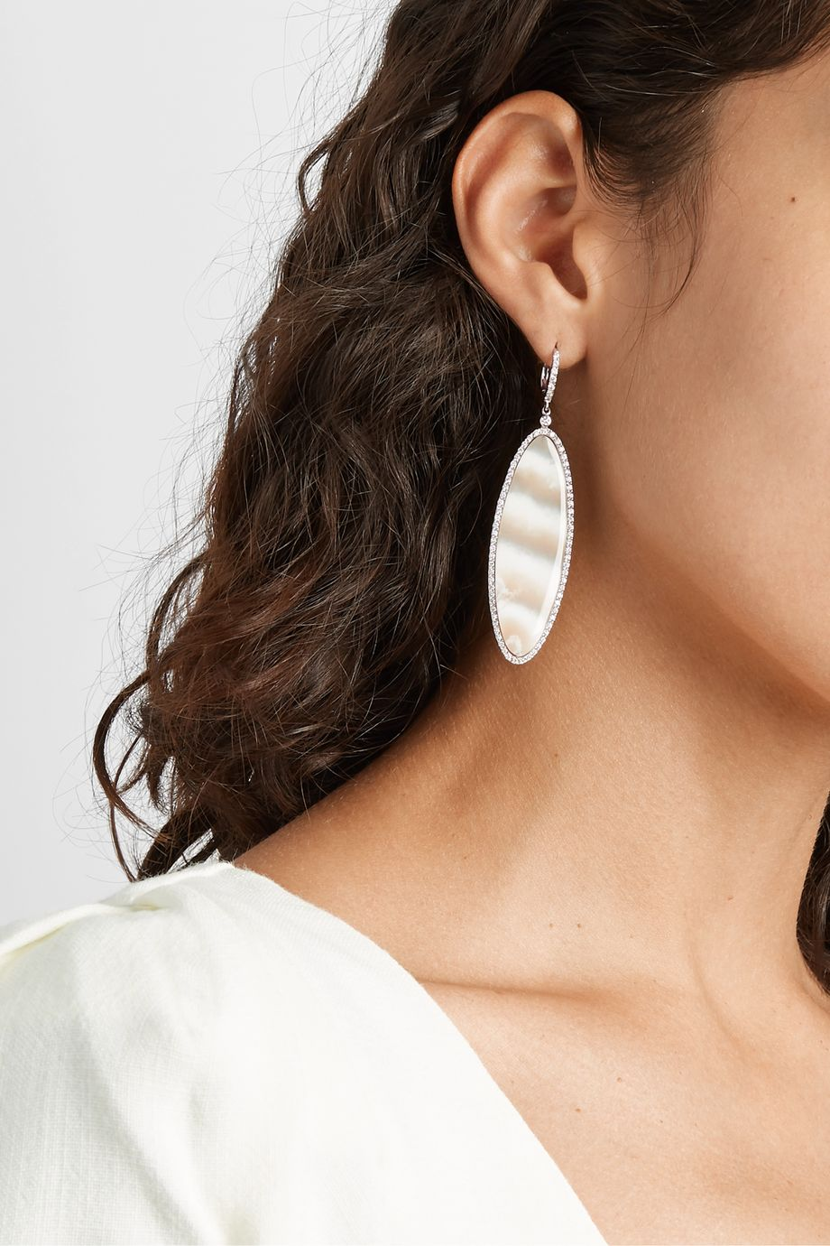 Kimberly McDonald 18-karat white gold, chalcedony and diamond earrings