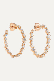 Kimberly McDonald 18-karat rose gold diamond hoop earrings