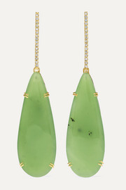 18-karat green and white gold, nephrite and diamond earrings