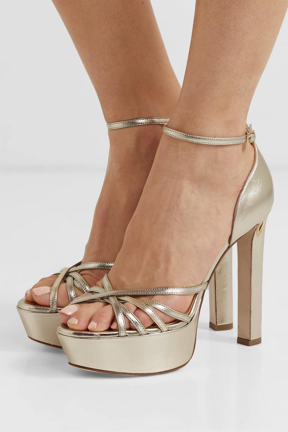 Jennifer Chamandi Roby 130 metallic leather platform sandals