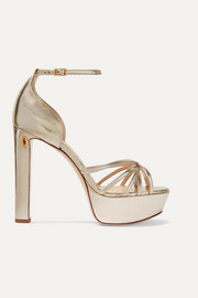 Roby 130 metallic leather platform sandals