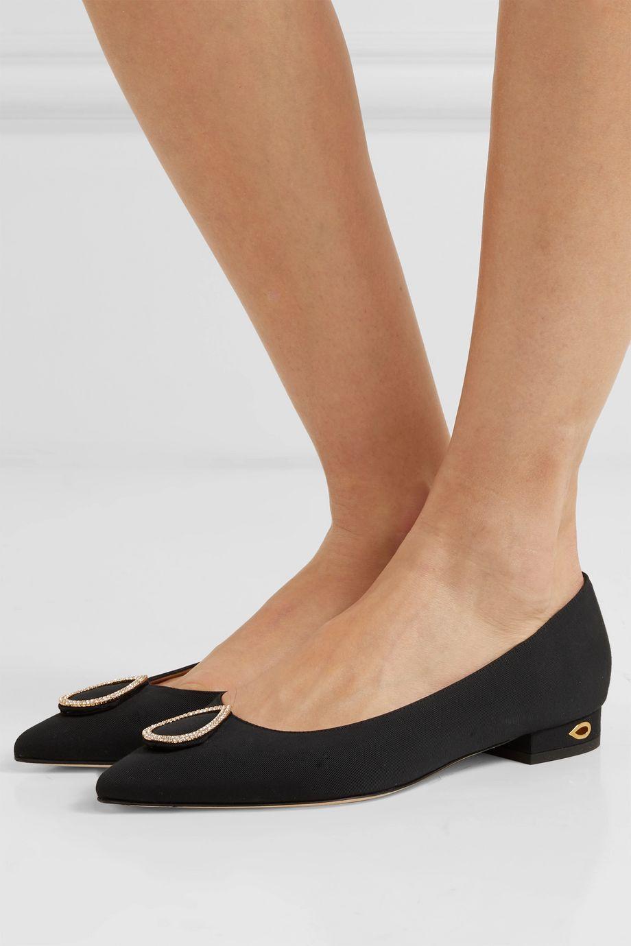 Jennifer Chamandi Lorenzo crystal-embellished grosgrain point-toe flats