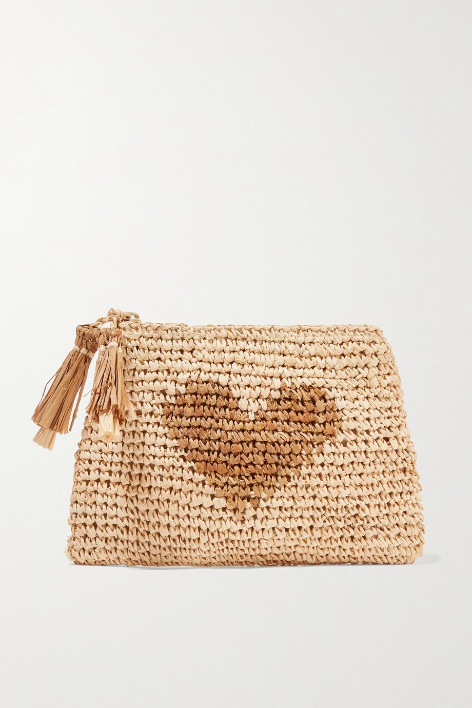 AERIN Beauty Small raffia pouch