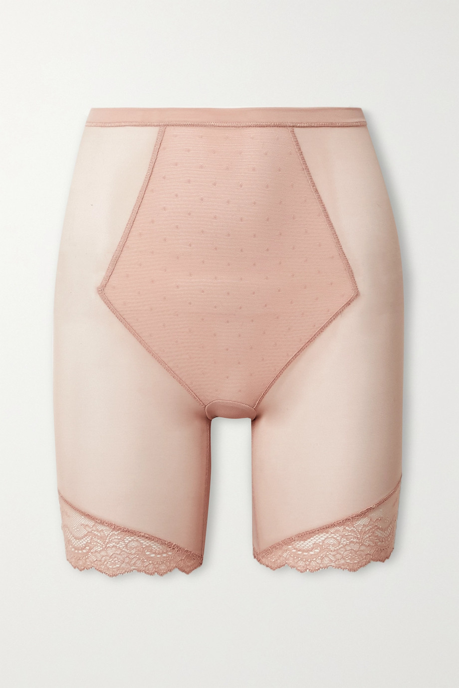 Spanx Spotlight lace-trimmed stretch-tulle shorts