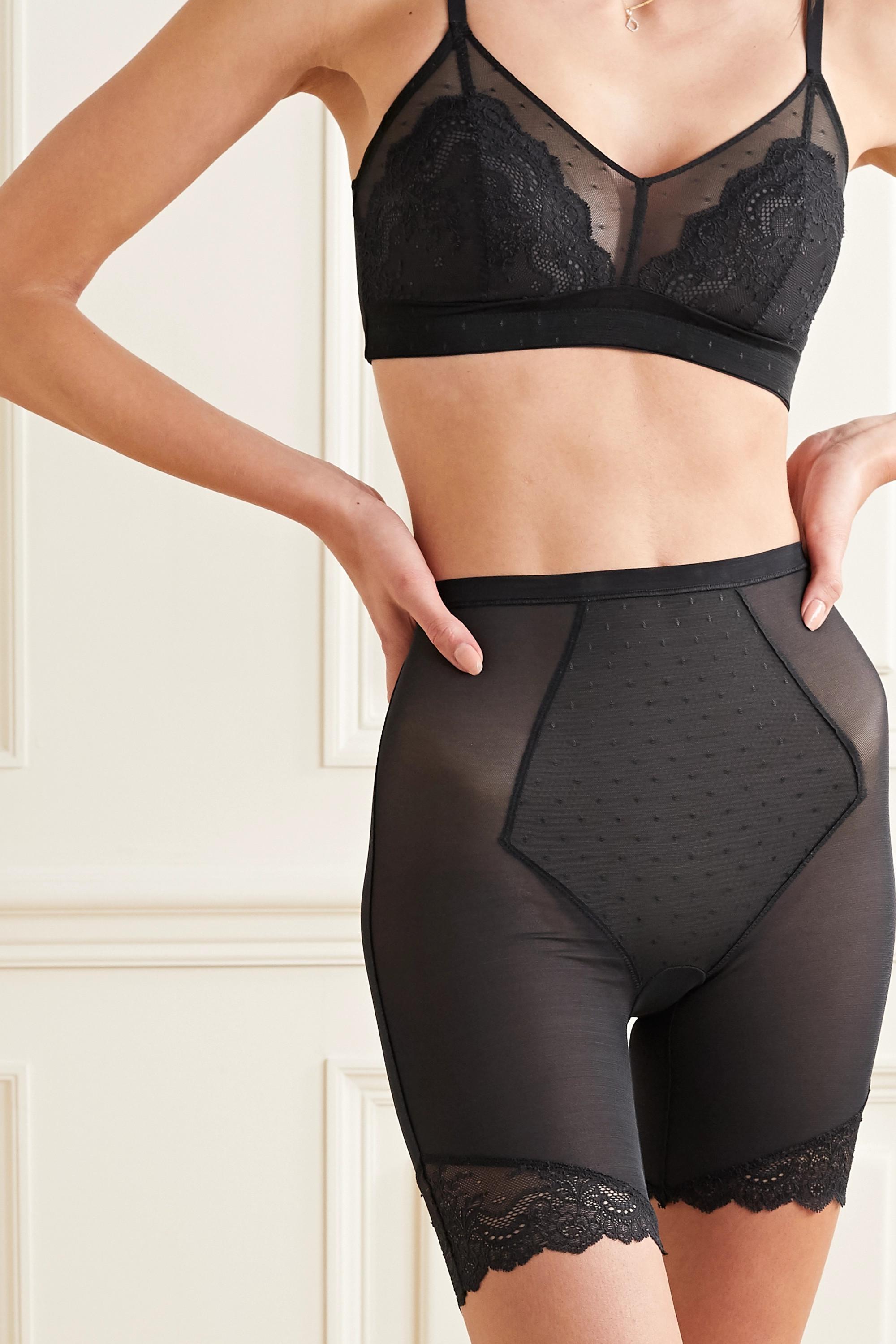 Spanx Spotlight Shorts aus Stretch-Tüll mit Spitzenbesätzen